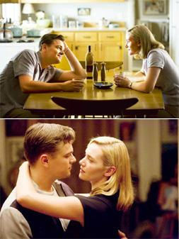 Frames: (top and above) Revolutionary Road reunites Leonardo DiCaprio and Kate Winslet after a decade.