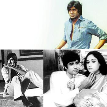 Behind the scenes: (clockwise from top) Bachchan's long association with film-maker Yash Chopra began with Deewar (1975); in Hrishikesh Mukherjee's Abhimaan (1973), Bachchan and his wife Jaya invested