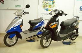 Robust growth: Hero Electric's scooters on display at an outlet near New Delhi. The industry expects 30-40% growth in sales this fiscal. Rajkumar / Mint
