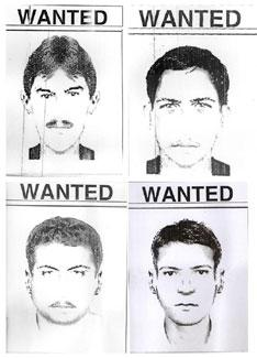 A combination of sketches issued by Pakistani police shows suspects allegedly involved in Tuesday's attack on the Sri Lankan team in Lahore. Reuters