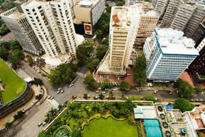 Declining demand: An aerial view of Nariman Point and Cuffe Parade in Mumbai. Property consultants say old buildings at Nariman Point have been losing their appeal and the downturn has only worsened t