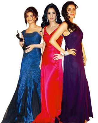 Free flowing: (L-R) Priyanka Chopra in an Alberta Ferretti gown at the Filmfare Awards; Katrina Kaif in a Jenny Packham at the Star Screen Awards; and Asin in a Diane von Furstenberg gown at the Filmf