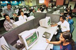 Wait not over: A file photo of a call-centre. The new pension scheme for private sector employees will be in place only after the election. S Burmaula / HT