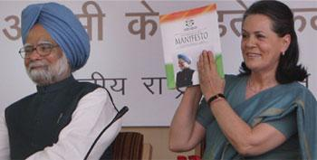 Poll promises: Prime Minister Manmohan Singh and Congress president Sonia Gandhi releasing the party manifesto for the coming general election at the AICC headquarters in New Delhi on Tuesday. Subhav