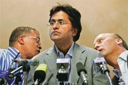 Power play: IPL chief Lalit Modi (centre) at a news conference in Johannesburg on Tuesday. Denis Farrell / AP