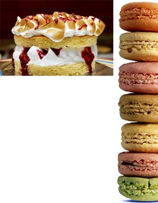 Just like granny's: (left) Theobroma's Victoria sponge crowned by a meringue topping; and flavoured macaroons from Four Seasons. Abhijit Bhatlekar / Mint