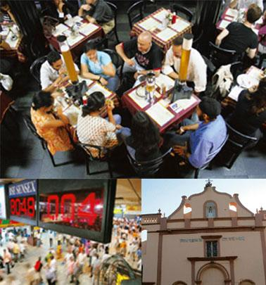 Moving on: (clockwise from top) Business as usual at Cafe Leopold, which was targeted in the 26/11 terror attacks; an old Portuguese church on Manori beach; and Churchgate station. Photos by Tunali M