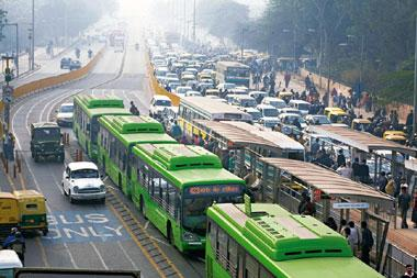 Locking horns: The Chirag Dilli stretch of the Bus Rapid Transit (BRT) corridor, which has earned the wrath of many and given rise to heated debate over the desirability of such a system. Madhu Kappar