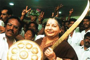 Steel magnolia: J. Jayalalithaa can make a difference to the outcome of the 2009 general election. R. Senthil Kumar / PTI