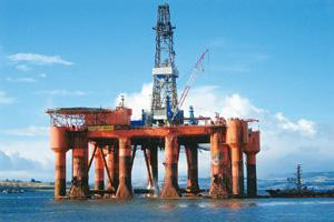 On high: An Essar Oil rig. The firm's stock surged 48.38% on Monday.