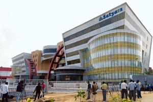 Beleaguered: The Satyam Computers headquarters in Hyderabad. The fraud-hit company is required in the next 6-12 months to repay Rs900 crore debt raised recently by the government-appointed board. Kris