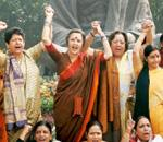 On representation: A 2007 protest demanding the introduction of the Women's Reservation Bill at Parliament House in New Delhi. The United Progressive Alliance government introduced the Bill in the Raj