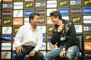 Launch pad: IPL chairman Lalit Modi (L) with actor and Kolkata Knight Riders owner Shah Rukh Khan, at a press conference in Cape Town. Companies are seeing IPL as a great platform to launch new produ