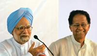 Optimistic: Prime Minister Manmohan Singh (left) with Assam chief minister Tarun Gogoi at a news conference in Amingaon on Sunday. Utpal Baruah / Reuters