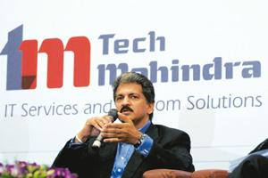 Confident move: Chairman of TechM Anand Mahindra at a press conference in Hyderabad on Monday. Krishnendu Halder / Reuters
