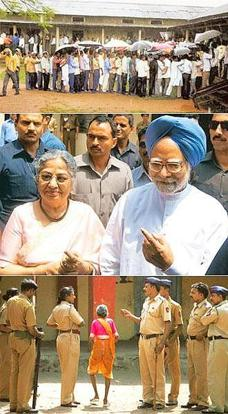 Big stakes: (from top) Voters in Bagharbori, Guwahati, on Thursday braved the rain and queued up to cast their votes; Prime Minister Manmohan Singh (right) and his wife, Gursharan Kaur, hold up their