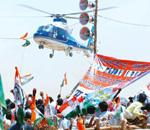 For the high-flyers: Sonia Gandhi arriving on a chopper for an election campaign in Allahabad on 19 April. PTI
