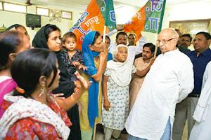 Different directions: Lalji Tandon, the BJP candidate from Lucknow. Madhu Kapparath / Mint