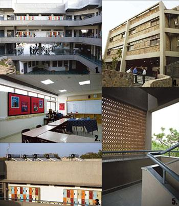 Green lessons: 1. An open courtyard built around the preserved foundation walls of the old high school building; 2. A classroom with automatic daylight and AC controls; 3. Open-air lockers and roofto