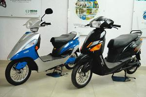 Helping hand: Electric scooters on display at a showroom in Faridabad. The ministry of new and renewable energy is planning to help the electric vehicle industry set up manufacturing facilities. Rajku
