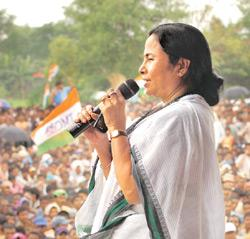 Broken promises: A file photo of Trinamool Congress' Mamata Banerjee at a rally outside the proposed Tata Motors factory in Singur. The factory was moved out of the state, resulting in many people los