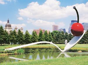 Different strokes: The spoonbridge and cherry sculpture by Oldenburg and van Bruggen in Minneapolis, Minnesota. ConceptVisual.com