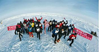 Top form: The North Pole marathon, at 42.19km, is just as long as a conventional marathon. Photograph: Mike King