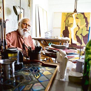 Unvarnished: Das, who is showing in Delhi after nine years, at his studio. Madhu Kapparath / Mint