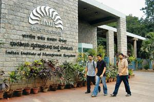 Recession-hit: Students at the Indian Institute of Management campus in Bangalore. Management institutes took double the time to place students. Placements are still not over in many institutes. Manju