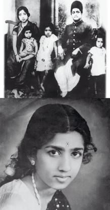 Flashback: (top) Five-year-old Lata (centre) with her parents and two of her three sisters in Sangli in 1944; (below) the singer as an adolescent. Lata Mangeshkar...In Her Own Voice/Niyogi Books