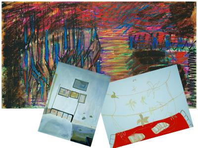 Postcards: (top) An untitled work by Srinagar-based artist Rakesh Kumar; and two untitled works by Shruti Mahajan.
