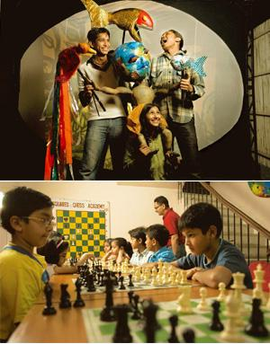 Play time: (top) At the Katkatha workshops, children will make puppets and also put up a puppet show; and playing chess regularly helps children concentrate better at math. Harikrishna Katragadda/Mint