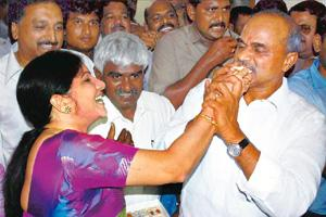 All-round performance: Andhra Pradesh chief minister Y.S. Rajasekhara Reddy celebrates after his victory. PTI