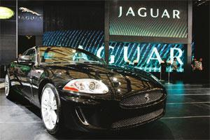 Shaky ground: A Jaguar on display. Ratan Tata had earlier said he wanted the UK government to facilitate access to credit for JLR. Qilai Shen / Bloomberg
