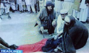 Brute force: Under the Shariah law, public flogging is allowed in Pakistan. Dawn News/AFP