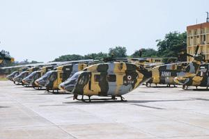 Retendering projects: A file photo of helicopters at the HAL base in Bangalore. The firm plans to send a fresh request for proposal in a month. Hemant Mishra / Mint