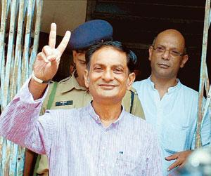Falsely accused? Binayak Sen after being released from the jail following the Supreme Court's order in Raipur on Monday.  PTI