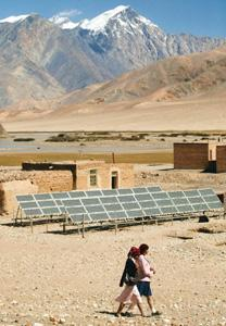 Taking a hit: Solar panels in Xinjiang, China. Investment in wind farms, solar installations and hydropower plants in Asia have dropped to $1.8 billion in the first quarter of 2009, says a research fi