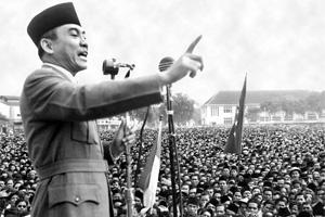 Iron fist: A file picture of Sukarno addressing a rally in Macassar, Indonesia, demanding independence from the Netherlands. AFP