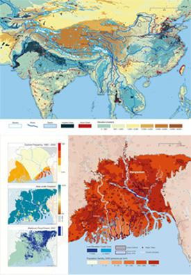 Danger signs: (top) The map depicts glaciers (white with blue borders) in the Himalayas and the major rivers that flow from them; maps of the Ganges delta, which supported a population of 144 million