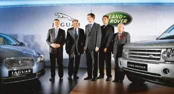 Luxury brands: (from left) Jaguar managing director Mike O'Driskoll; Tata group chairman Ratan Tata; Land Rover CEO David Smith; Land Rover managing director Phil Popham; and Tata Motors vice-chairma