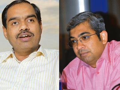 Power job: (left) Infosys chief financial officer V. Balakrishnan; and Ashok Vemuri, the company's head of banking and capital markets. Hemant Mishra / Mint