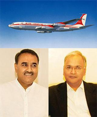 Ground realities: (top) An Air India B707 aircraft; civil aviation minister Praful Patel (left); and Nacil's Arvind Jadhav. Both Patel and Jadhav will have a considerable effect on Air India's future