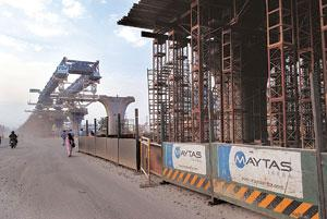 Setback: A Maytas Infra construction site in Bangalore. The scrapping of the Rs12,312 crore Hyderabad Metro project deal comes a day after Maytas benefited from a move by the Karnataka government to r
