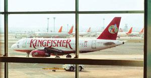 Less debt, more growth: A Kingfisher aircraft at New Delhi's IGI airport. The firm is launching its fifth international flight in August. Ramesh Pathania / Mint