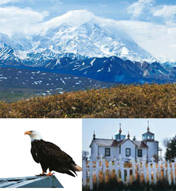 On a high: (from top) Mt McKinley is the highest peak in North America; a Bald Eagle; the Russian Orthodox church in Ninilchik. Photographs: Alaphia Zoyab
