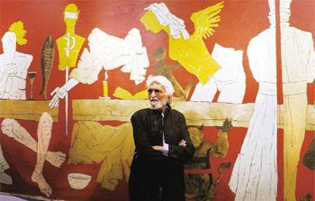 The victim: The numerous attacks on artist M.F. Husain by Hindu fundamentalists raise questions similar to those debated in this series. Sebastian D'Souza / AFP