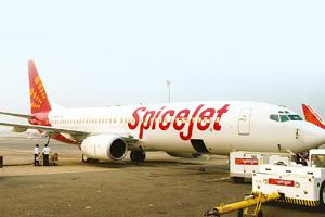 Creative branding: A SpiceJet aircraft in Delhi. The company spends 3-5% of its turnover on advertising. Ramesh Pathania / Mint