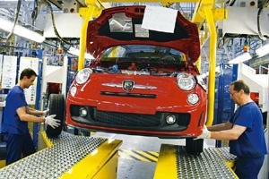 Efficient assembly: The production line for the Fiat 500 Abarth at the auto maker's plant in Tychy, Poland. Rafal Klimmikiewicz / NYT