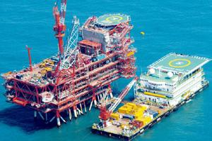 High costs: The Reliance Industries rig in the Krishna-Godavari basin. The government has earmarked 2.67 mscmd of gas from KG D6 for NTPC, of which 2.06 mscmd is to go to the utility's two Gujarat pla